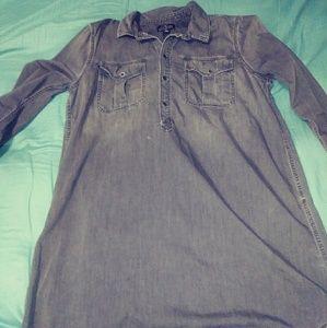 Lucky Brand Black Denim Shirt Dress